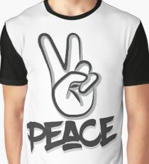 Peace Fingers Graffiti Mural Graphic T-Shirt