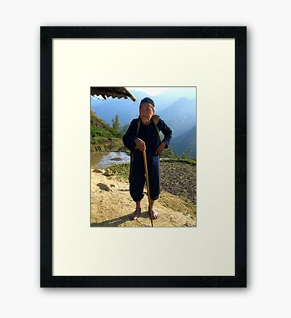 Hilltribe man near Mt Fansipan, Hoang Lien Son Range, North Vietnam Framed Print