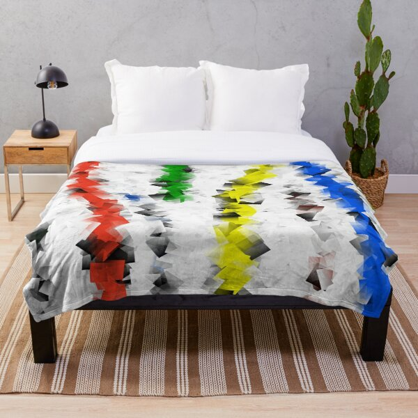 Colored Square Lines Throw Blanket