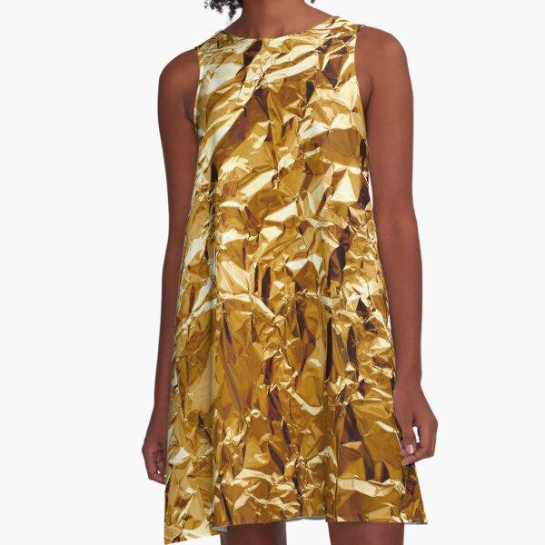 Crumpled Golden Foil A-Line Dress