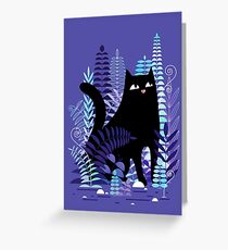 The Ferns (Black Cat Version) Greeting Card