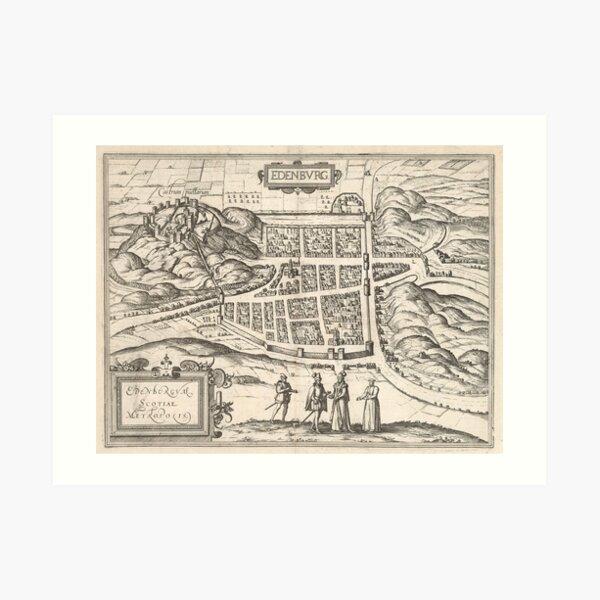 Vintage Map of Edinburgh Scotland (1581) Art Print
