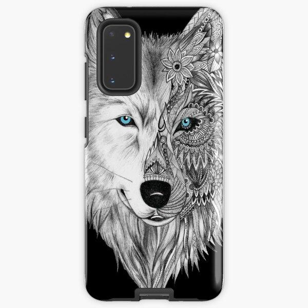 The White Wolf Mandala- Black Samsung Galaxy Tough Case