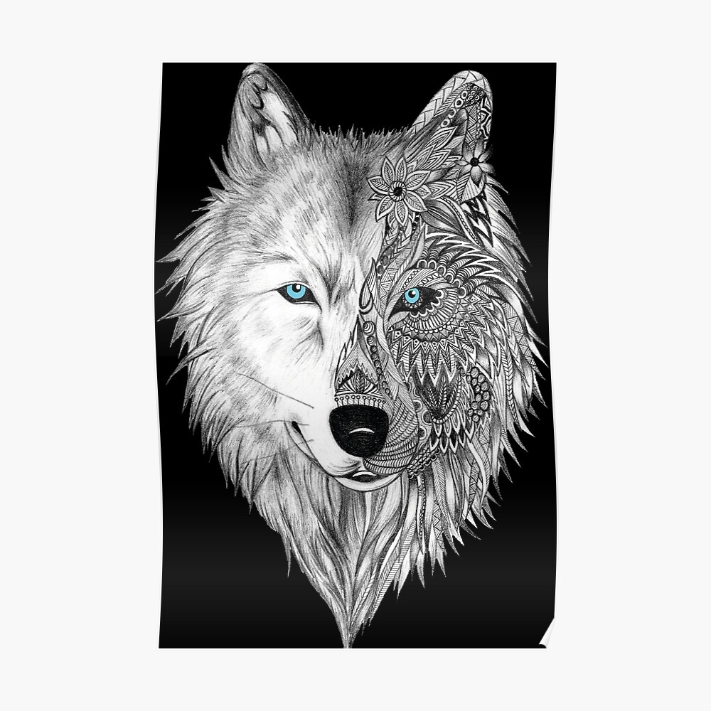 The white wolf mandala black poster