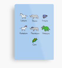 Unicorn, Bicorn, Tricorn, Quadcorn, Pentacorn, Hexacorn ... and Corn Metal Print