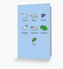 Unicorn, Bicorn, Tricorn, Quadcorn, Pentacorn, Hexacorn ... and Corn Greeting Card