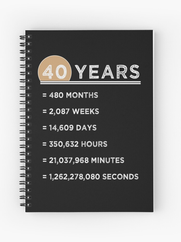 40th Wedding Anniversary.40 Years Funny Gifts 40th Birthday 40th Wedding Anniversary Spiral Notebook