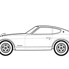 Datsun Fairlady 240Z Outline Artwork by RJWautographics