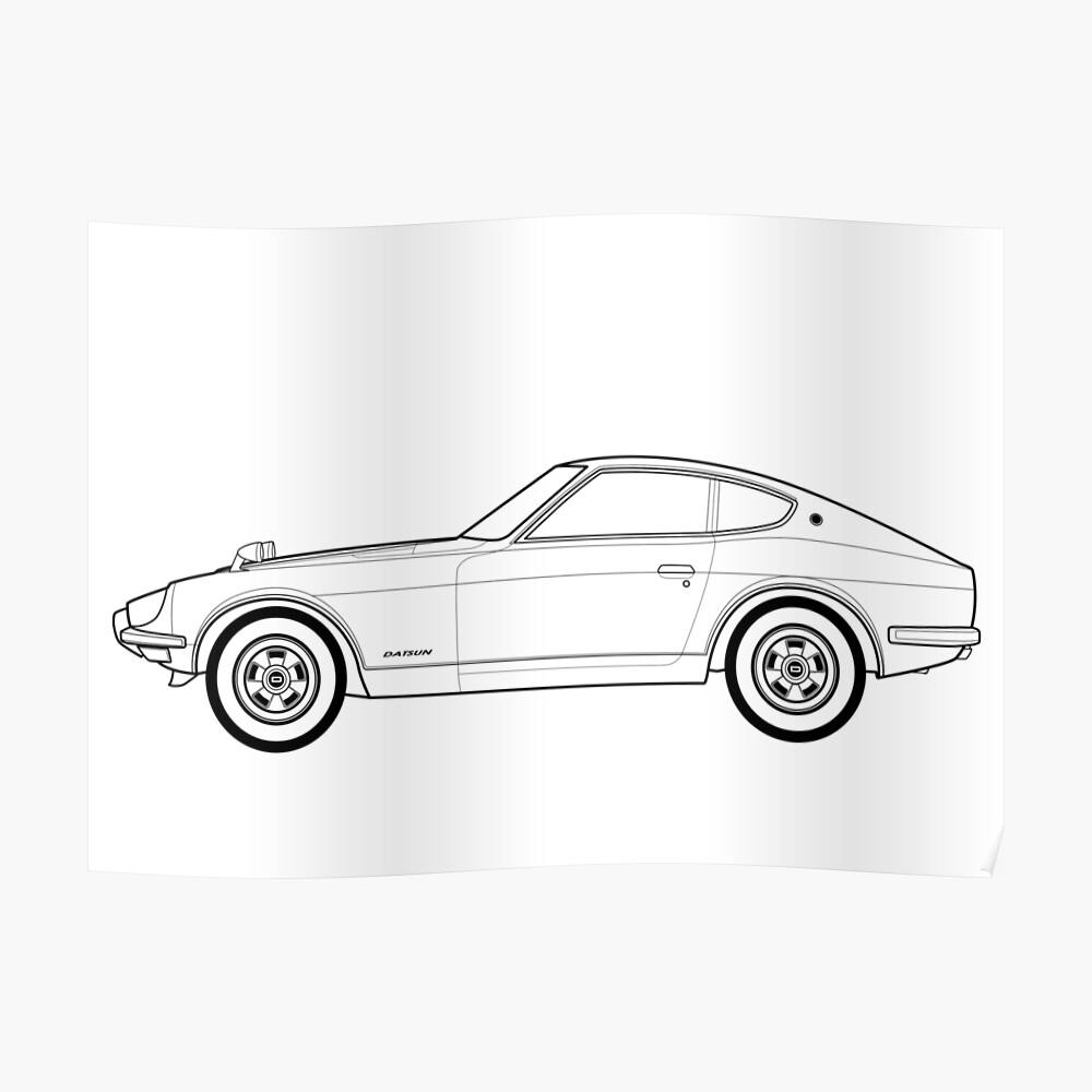 Datsun fairlady 240z outline artwork poster