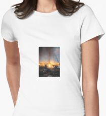 Finnish soldier looks at a burning town, 1944 Women's Fitted T-Shirt