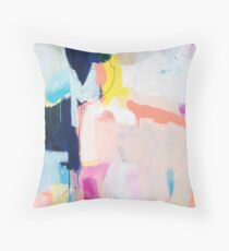 passions one   colorful abstract acrylic painting    pink blue peach yellow turquoise art Throw Pillow