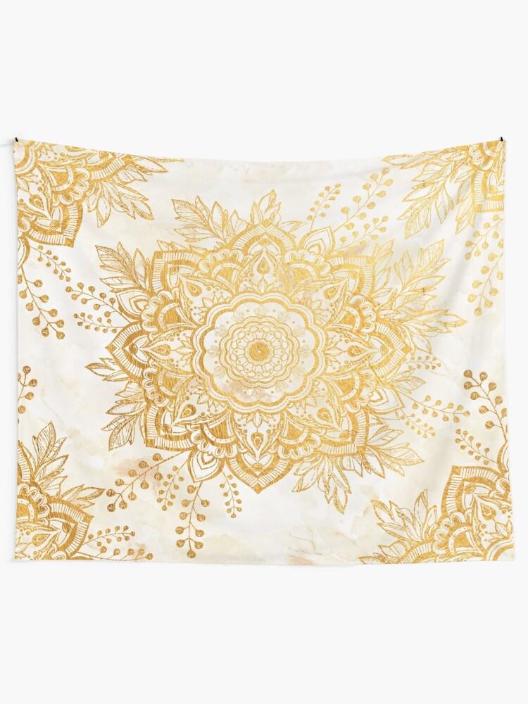 Alternate view of Queen Starring of Mandala-Gold Sunflower Tapestry