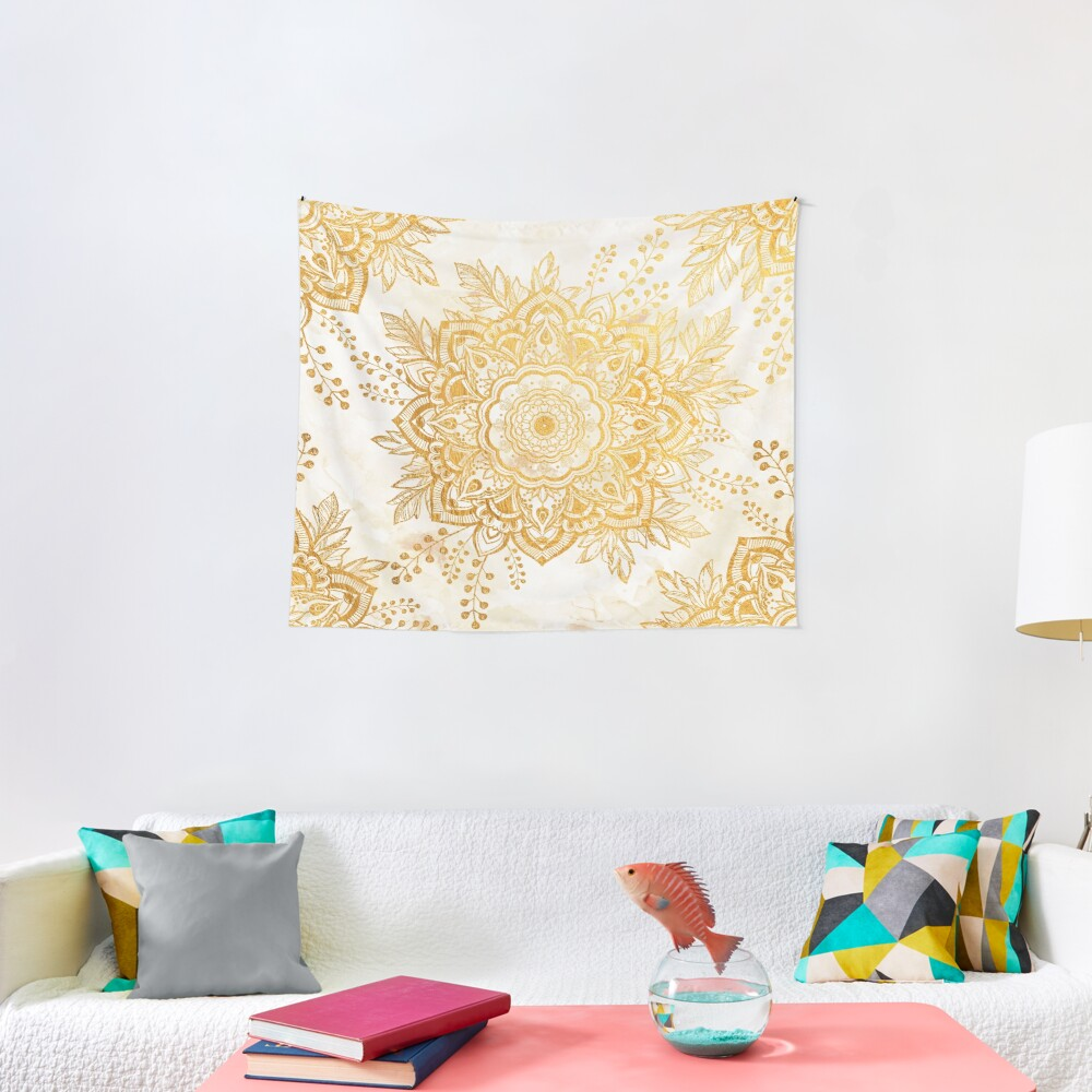 Queen Starring of Mandala-Gold Sunflower Tapestry