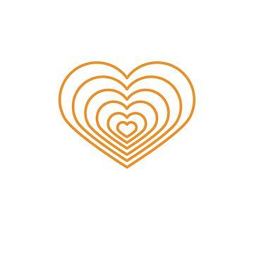 Forma de corazón multi naranja de jashirts