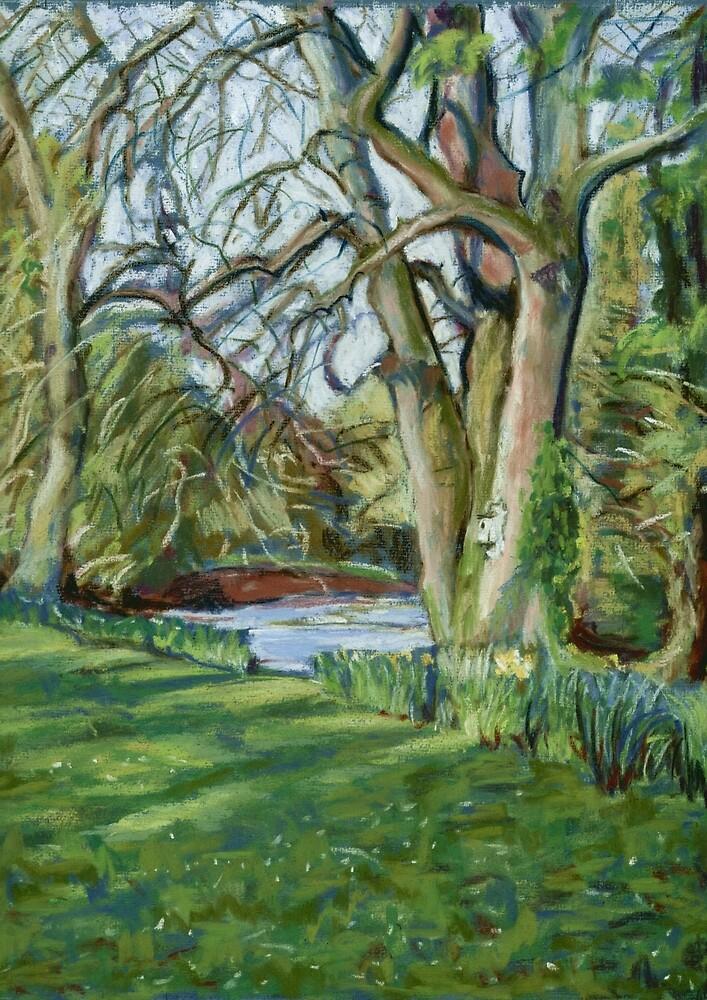 River Monnow at Allt yr Ynys, Monmouthshire, Wales by Judy Adamson