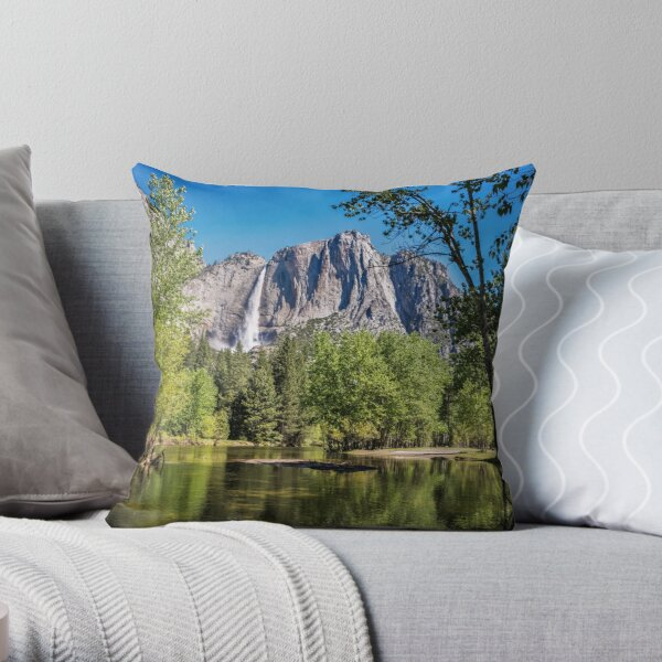 Yosemite Falls reflected in the Merced River Throw Pillow
