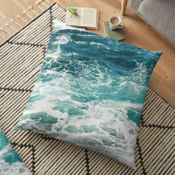 Blue Ocean Waves  Floor Pillow