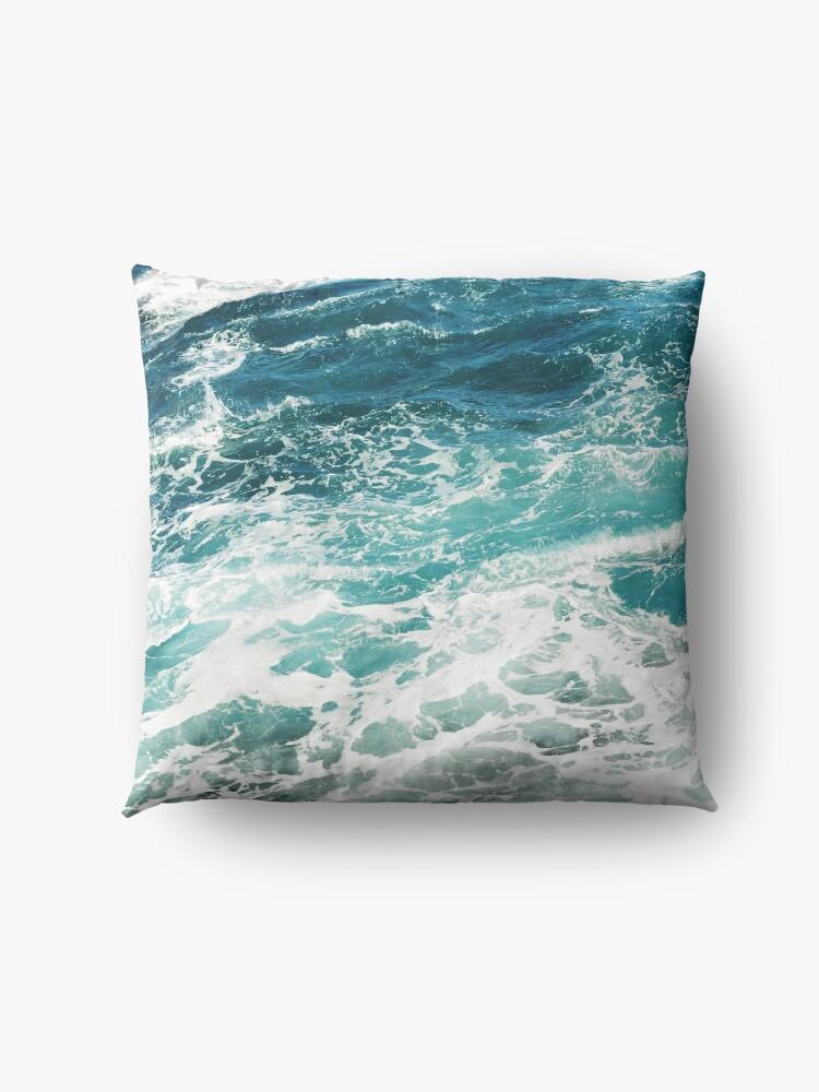 Alternate view of Blue Ocean Waves  Floor Pillow