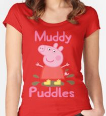 Peppa Pig - Muddy Puddles Women's Fitted Scoop T-Shirt