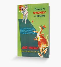 Sydney, Australia, Kangaroo, Cricket, Vintage Travel Poster Greeting Card