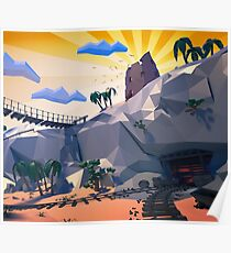 mine with railway track in the canyon Poster