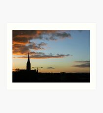 Sunset over Salisbury Cathedral Art Print