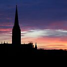 Sunset over Salisbury Cathedral by naffarts