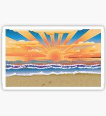 Sunset on tropical beach 2 Sticker