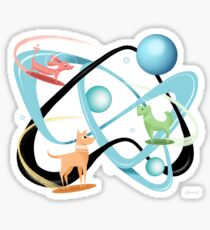 Atomic Rocket Powered Space Dogs Sticker