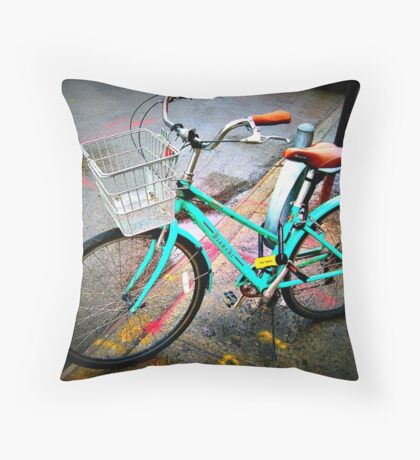 bicycle after the rain. Throw Pillow