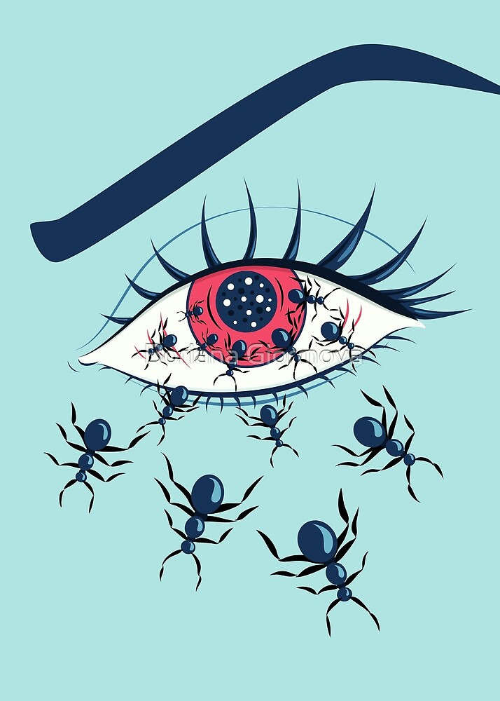Creepy Red Eye With Crawling Ants by Boriana Giormova