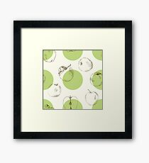 seamless pattern made of scattered decorative apples Framed Print