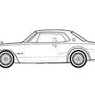 Nissan Skyline GT-R Outline Drawing by RJWautographics