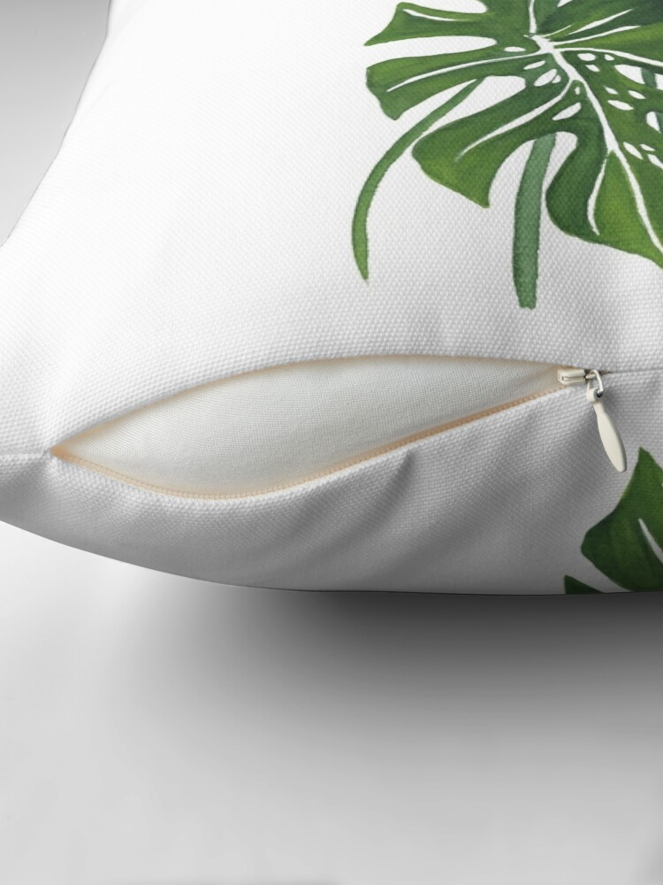 Alternate view of Monstera Leaves Throw Pillow