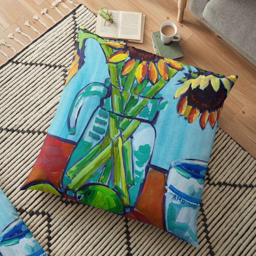 Sunflowers and Limes Floor Pillow