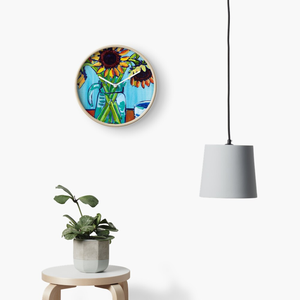 Sunflowers and Limes Clock