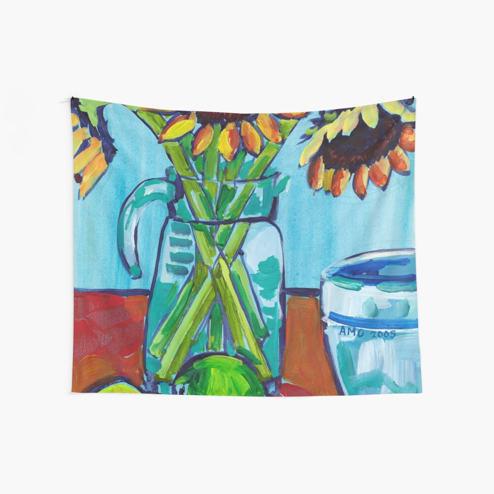 Sunflowers and Limes Wall Tapestry