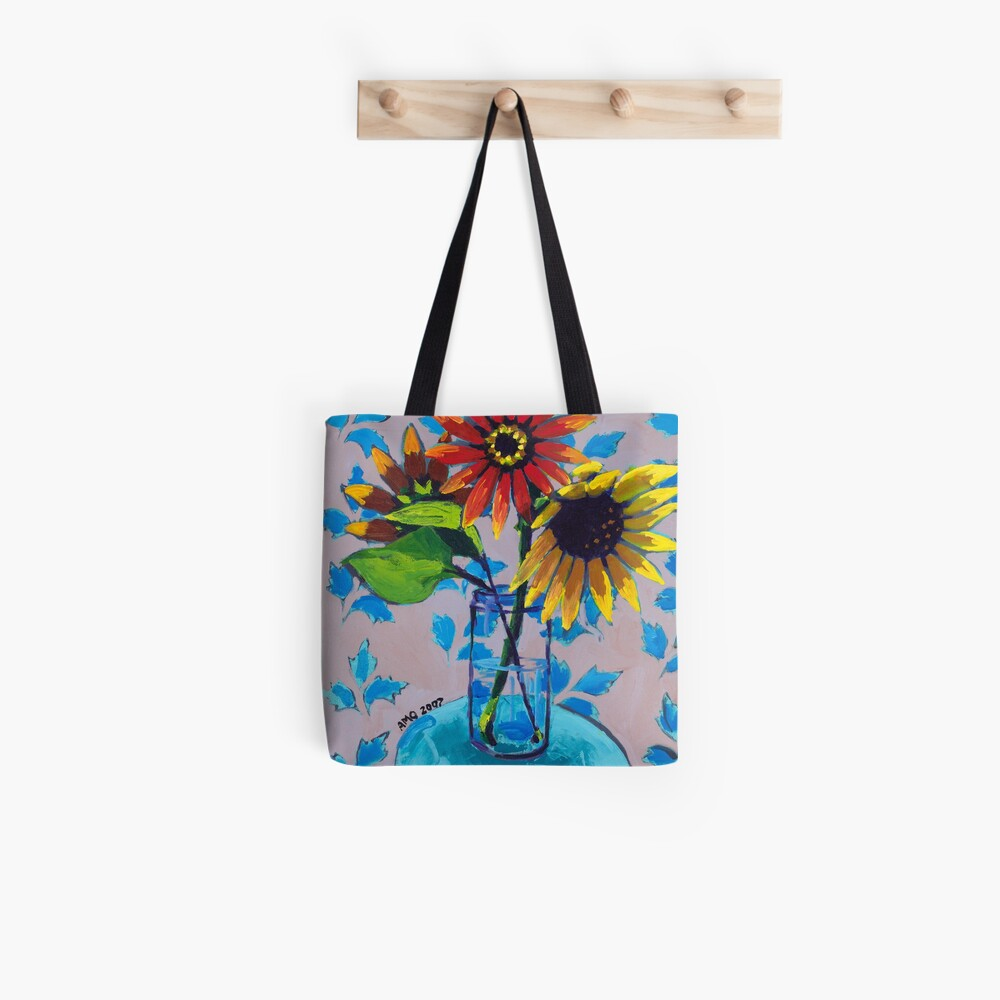 Sunflower with Purple and Blue Tote Bag