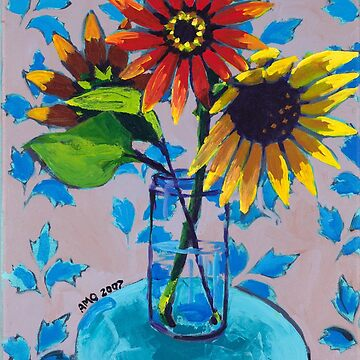 Sunflower with Purple and Blue by AMOpainting