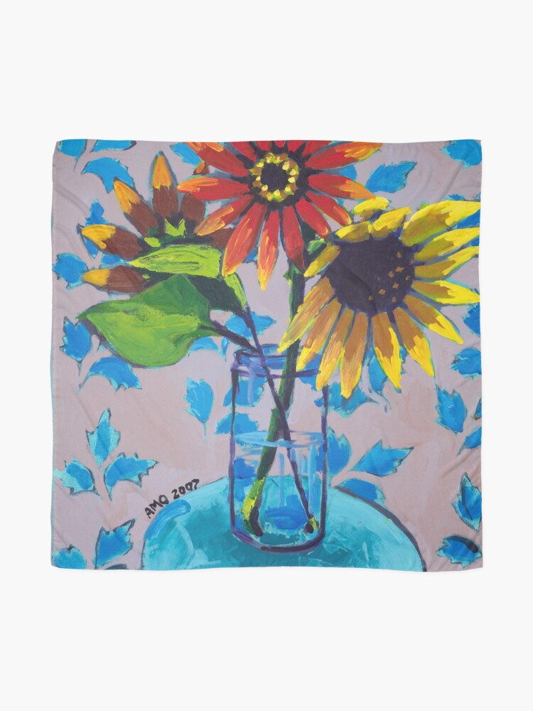 Alternate view of Sunflower with Purple and Blue Scarf
