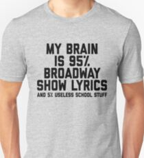 My Brain is 95% Broadway Show Lyrics And 5% Useless School Stuff Funny Theatre Nerd Theatre Actor Unisex T-Shirt