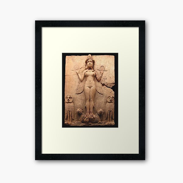 BABYLON. Queen of the Night, Goddess Ishtar, Babylonian Goddess of sex and love. Burney relief. Framed Art Print