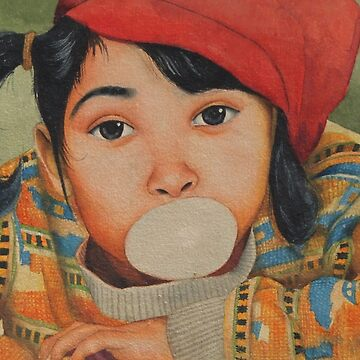 Naughty girl blowing and playing with Bubble Gum - in Watercolor by artyzoneindia