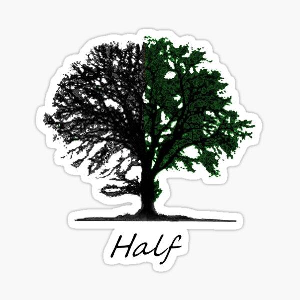 Half green tree design with title Sticker