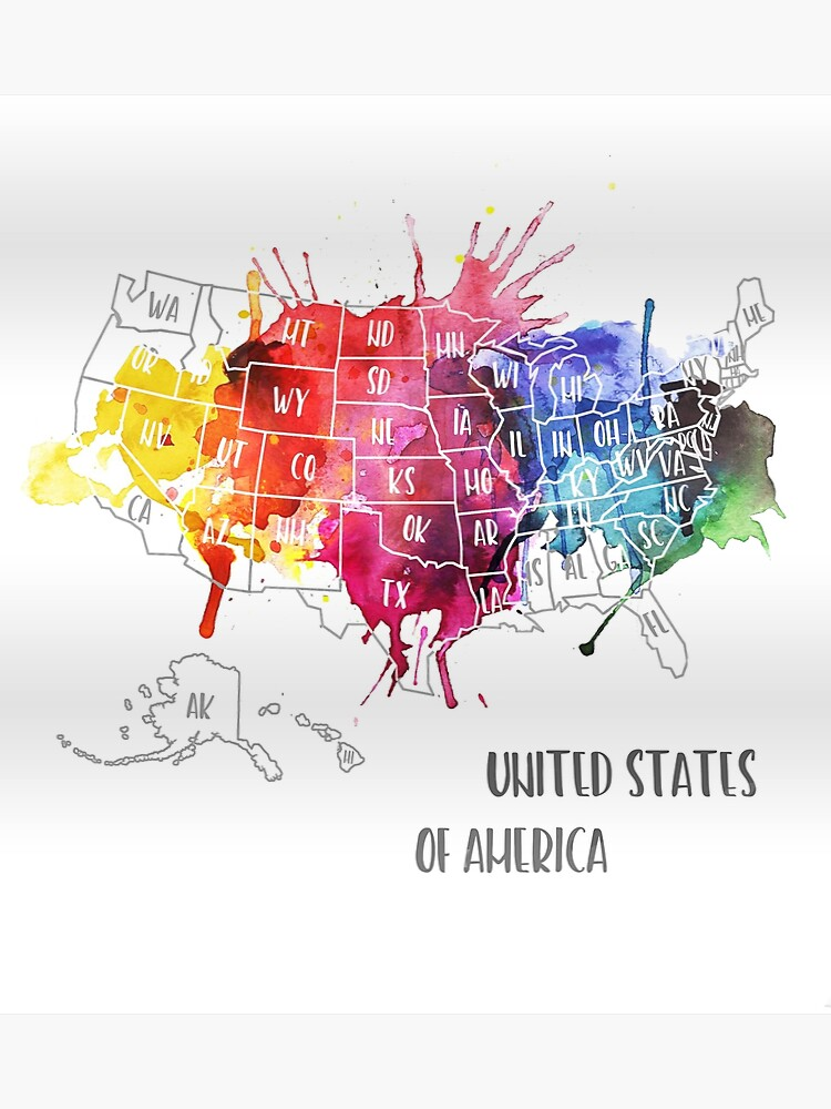 USA, America - Map, Watercolor   Poster