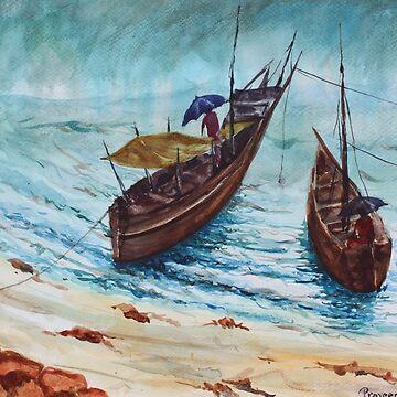 The Seaside view during monsoon season, fishermen returning back from work by artyzoneindia