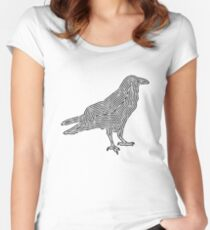 Crow TShirt Minimalist Outline Silhouette   Women's Fitted Scoop T-Shirt