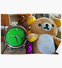 Cute Green Clock Time with Brown Teddy Bear. Animal, Cartoon, Art, Child, Fun. Poster