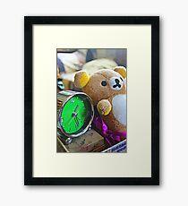 Cute Green Clock Time with Brown Teddy Bear #2. Animal, Cartoon, Art, Child, Fun. Framed Print