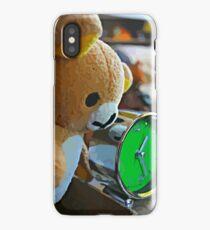 Cute Green Clock Time with Brown Teddy Bear #3. Animal, Cartoon, Art, Child, Fun. iPhone Case